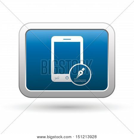 Phone with note menu icon on the button. Vector illustration