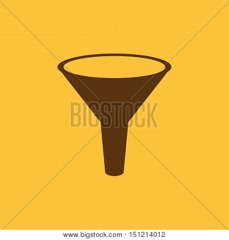 The funnel icon. Filtered and filter, laboratory, chemistry symbol. Flat Vector illustration