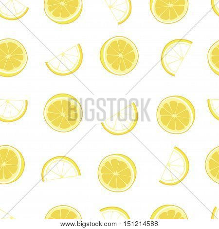 White and yellow lemon textile print seamless vector pattern