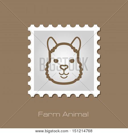 Lama alpaca guanaco outline stamp. Animal head vector symbol eps 10