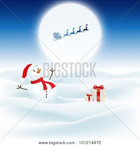 Christmas background with snowman and santa flying through the night sky