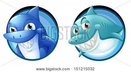 Wild sharks on round badges illustration