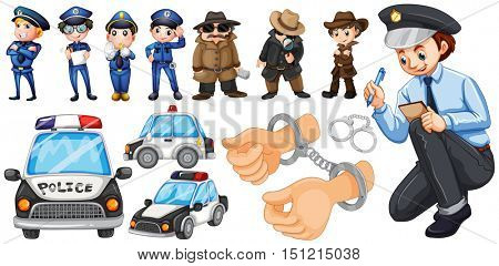 Police officers and police car set illustration