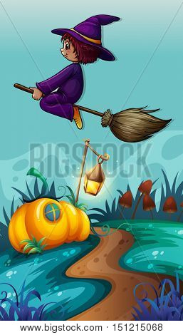Scene with witch on flying broom illustration
