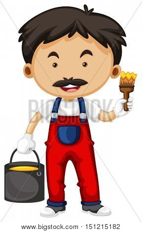 Painter holding brush and bucket of paint illustration