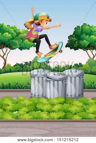 Scene with girl on skateboard in the park illustration