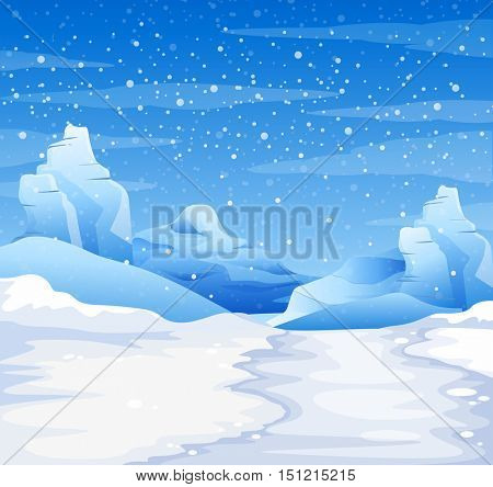 Nature scene with snow falling on the ground illustration