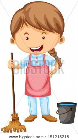 Cleaner with apron and broom illustration
