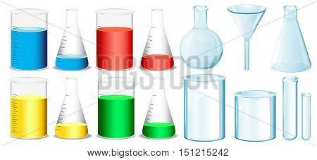 Science equipment with beakers and tubes illustration