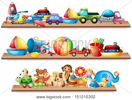 Many toys on wooden shelves illustration