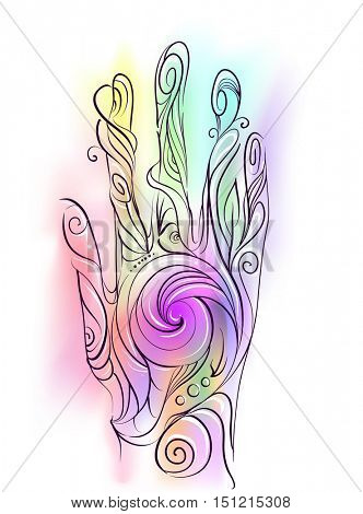 Trippy Illustration of a Hand Decorated with Colorful Swirls Demonstrating the Flow of Energy in the Human Body