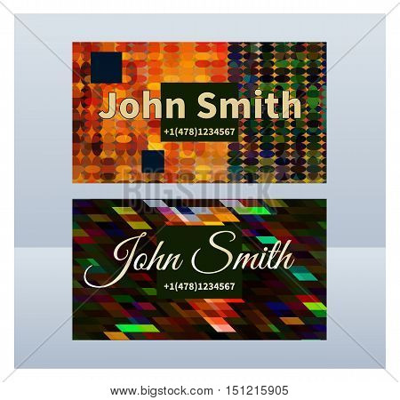 Vertical business cards. Vector geometric horizontal abstract elegant dark background. Template for invitation