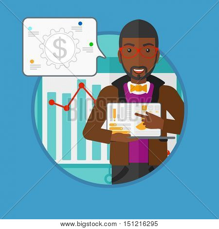 An african-american businessman giving business presentation on laptop. Young businessman pointing at the charts on laptop screen. Vector flat design illustration in the circle isolated on background.