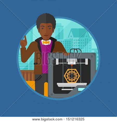 An african man standing near 3D printer and pointing forefinger up. Engineer using a 3D printer indoor. Man working with 3D printer.Vector flat design illustration in the circle isolated on background
