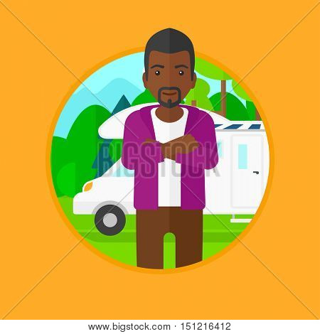 An african-american man standing in front of motor home. Young tourist with arms crossed enjoying vacation in camper van. Vector flat design illustration in the circle isolated on background.
