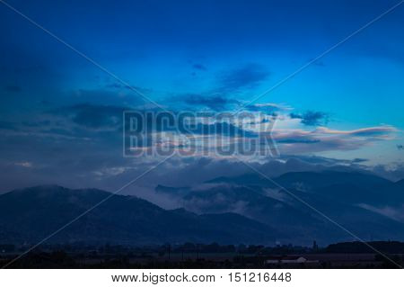 Mountain landscape. Rainy evening in the Olympus Mountain foot.