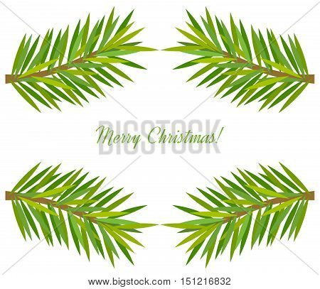 Christmas tree fir branch frame. Vector illustration