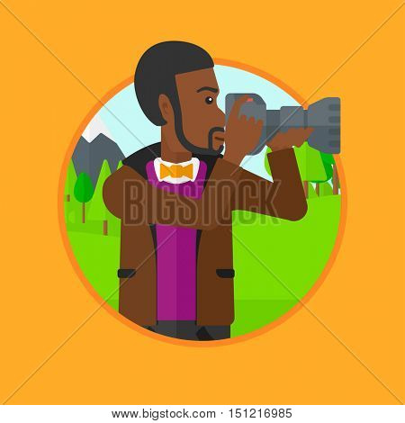 African-american man taking photo of landscape. Photographer taking picture in mountains. Nature photographer with digital camera. Vector flat design illustration in the circle isolated on background.