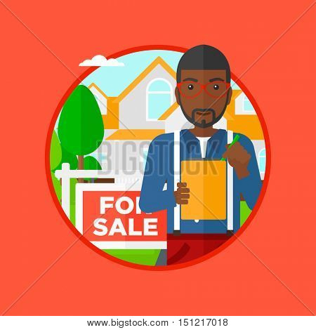 An african-american real estate agent signing contract. Real estate agent standing in front of the house with placard for sale. Vector flat design illustration in the circle isolated on background.