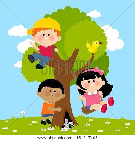 Children playing and climbing on a tree. A girl is happily playing on a swing.