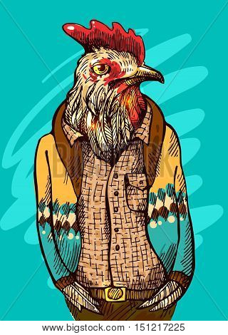 Cock in hipster costume. Vector illustration for greeting card, poster, or print on clothes. Fashion Style drawing. A symbol of 2017.