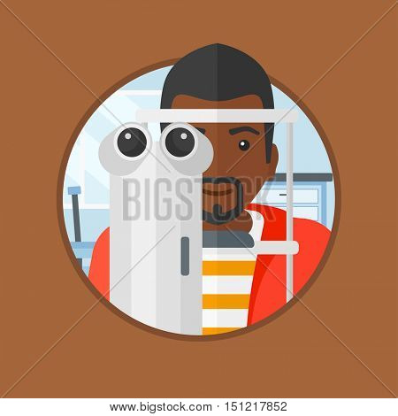 An african-american man during an eye examination. Man visiting optometrist. Man undergoing medical examination at the oculist. Vector flat design illustration in the circle isolated on background.