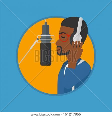 African-american man in headphones singing in recording studio. Singer making a record of his voice. Young singer recording a song. Vector flat design illustration in the circle isolated on background