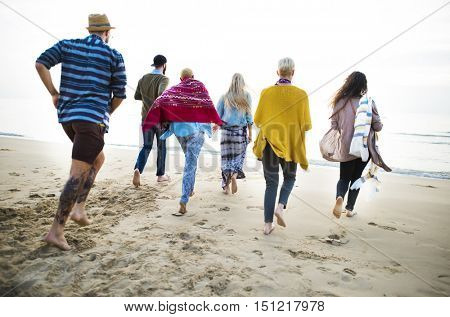 Group Of People Running Concept