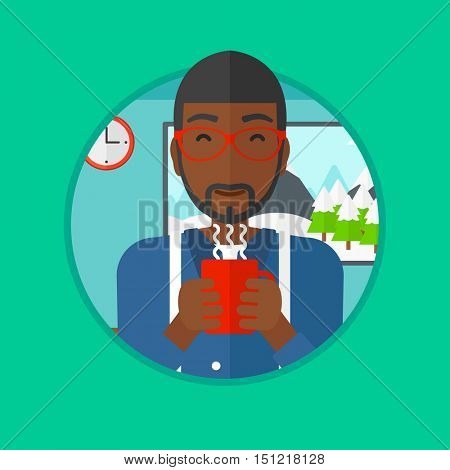 An african-american man drinking hot flavored coffee. Young smiling man with cup of coffee. Man enjoying coffee at home. Vector flat design illustration in the circle isolated on background.