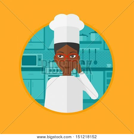 An african chief-cooker standing in the kitchen and pointing forefinger up. Chef thinking about the recipe. Chef having an idea. Vector flat design illustration in the circle isolated on background.