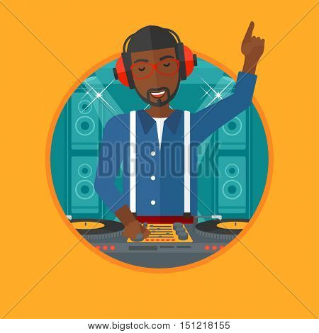 An african-american young DJ mixing music on turntables on the stage of nightclub. DJ playing and mixing music on deck. Vector flat design illustration in the circle isolated on background.