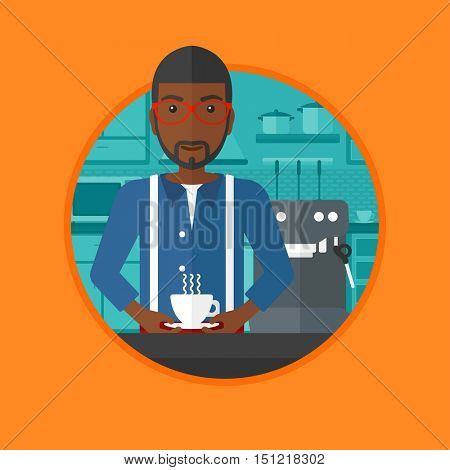 African-american man making coffee with a coffee-machine. Man with cup of coffee standing in the kitchen beside a coffee machine. Vector flat design illustration in the circle isolated on background.