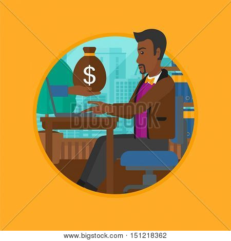 African-american businessman sitting at the table in office and a bag of money coming out of his laptop. Online business concept. Vector flat design illustration in the circle isolated on background.