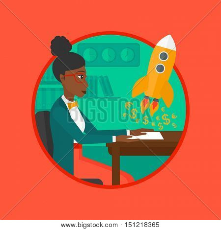 An african business woman sitting at the table and looking at a business start up rocket taking off. Business start up concept. Vector flat design illustration in the circle isolated on background.