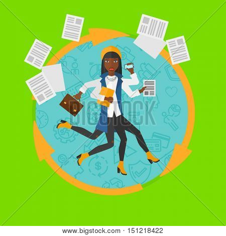 African-american business woman with many legs and hands holding papers, briefcase, phone. Multitasking and productivity concept. Vector flat design illustration in the circle isolated on background.