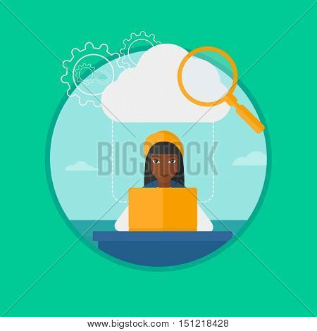 African-american business woman working on a laptop and cloud, magnifier and gears above her. Cloud computing technology concept. Vector flat design illustration in the circle isolated on background.