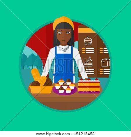 An african-american female bakery worker offering different pastry. A bakery worker standing behind the counter with cakes. Vector flat design illustration in the circle isolated on background.