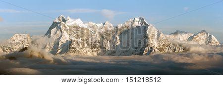 Evening panoramic view of mounts Kangtega and Thamserku fromm Gokyo Ri Everest area Sagarmatha national park Khumbu valley Nepal