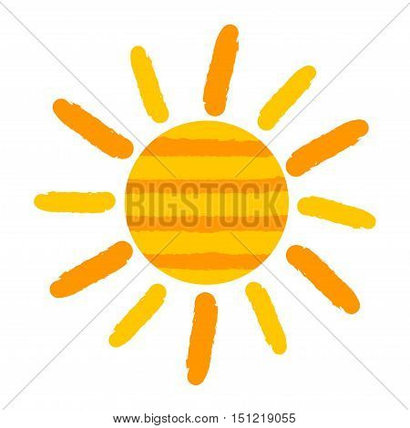 Sun icon painting over white. Vector illustration
