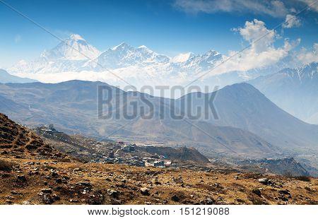 View of mount Dhaulagiri and Muktinath village round Annapurna circuit trekking trail route Nepal poster