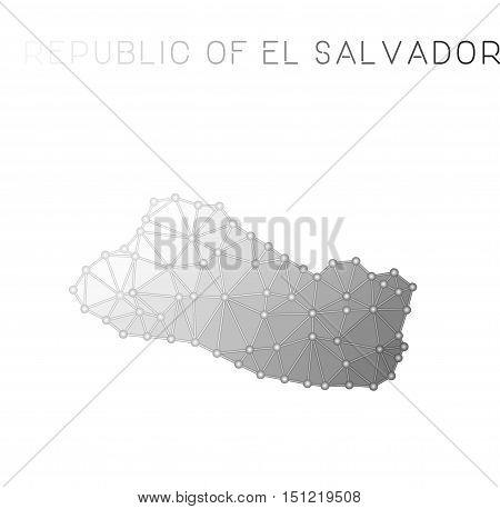 El Salvador Polygonal Vector Map. Molecular Structure Country Map Design. Network Connections Polygo