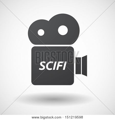 Isolated Film Camera Icon With    The Text Scifi