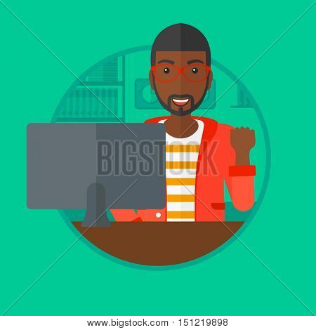 An african-american young businessman sitting at workplace in office and expressing great satisfaction. Business success concept. Vector flat design illustration in the circle isolated on background.