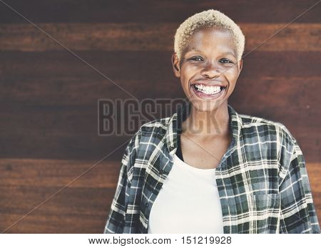 African Woman Smiling Happiness Enjoyment Concept