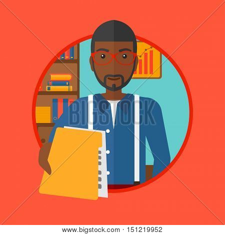 An african-american businessman giving a resume in office. Man giving to the employer his curriculum vitae. Job interview concept. Vector flat design illustration in the circle isolated on background.