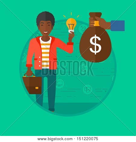 An african-american businessman exchanging his idea bulb to money bag. Young happy man having business idea. Business idea concept. Vector flat design illustration in the circle isolated on background