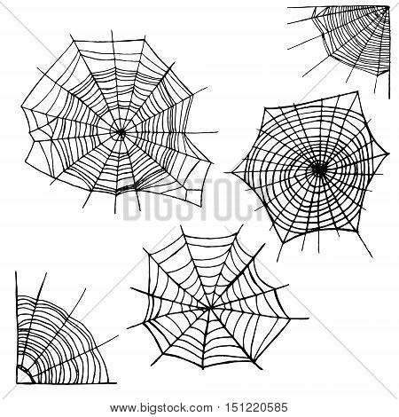 Different Spider Web Set. Elements for Design. The Symbol Of Halloween Vector illustration