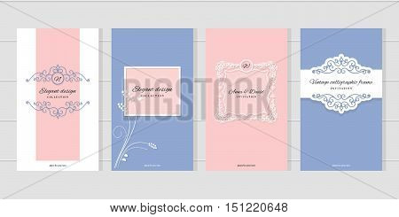 Vintage card templates. For wedding invitations elegant greeting cards beauty industry brochures design.