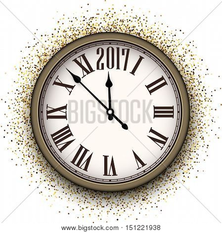2017 New Year background with clock and sand. Vector illustration.