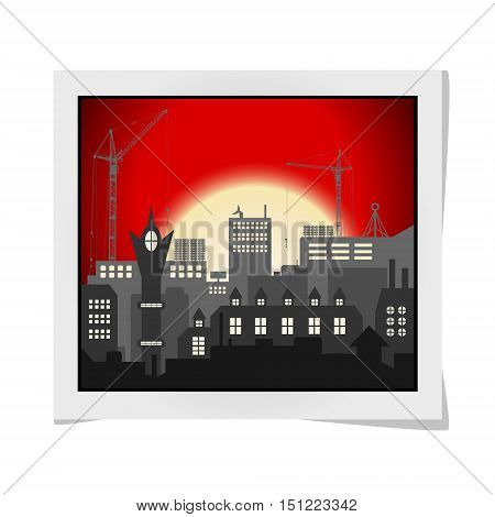 Photo Frame With Industrial European Vintage Styled City Under Construction On Bright Red Sunset Bac